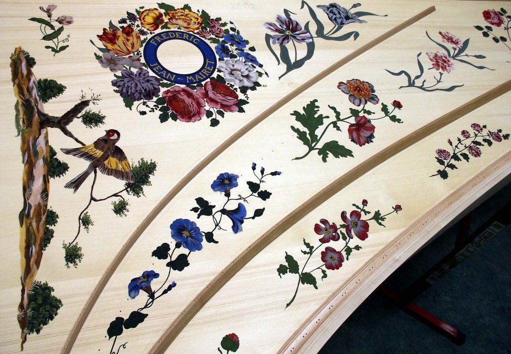 Peinture table d'harmonie clavecin